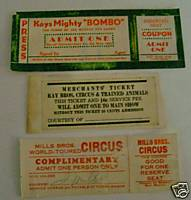 Mills Bros & Kay Bros Circus Ticket Lot - Autographed
